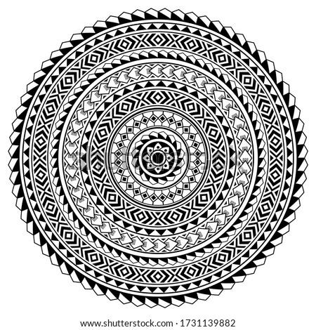 Polynesian Hawaiian tattoo style mandala vector design, boho tribal round pattern inspired by art traditional geometric art. Bohemian mandala ornament in black and white, zen, yoga decoration