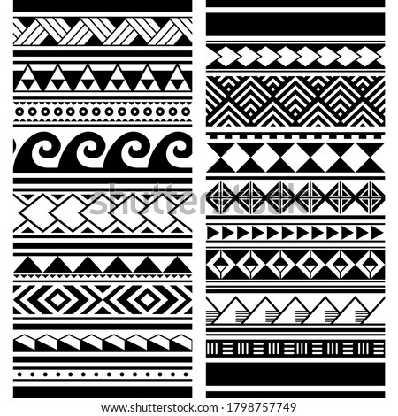 Polynesian Maori tattoo seamless vector two pattern set, Hawaiian tribal geometric monochrome design. Traditional tattoo art repetitive ornaments with triangles, zig-zag, abstract shapes in black