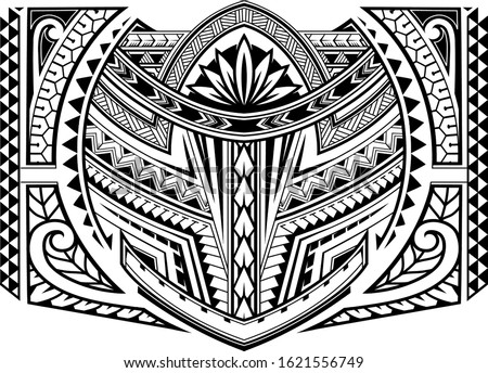 Polynesian ornamental tattoo design. Good for sleeve area patterns
