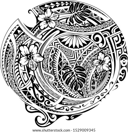 Polynesian pattern design with ethnic motives and floral elements. Can be used as tattoo