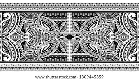 Polynesian style sleeve tattoo ornament