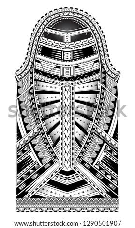 Polynesian style tattoo. Full sleeve ornament with Maori  and Samoan elements