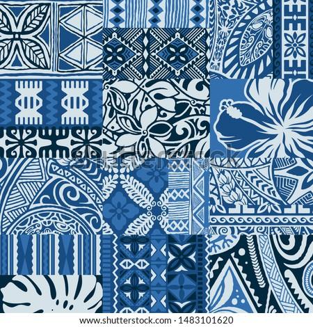 polynesian tapa cloth patchwork tribal  vector seamless pattern