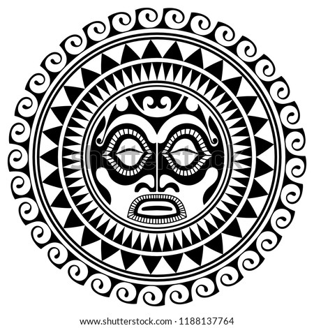 Polynesian tattoo design mask. Frightening masks in the Polynesian native ornament, isolated on white, vector illustration
