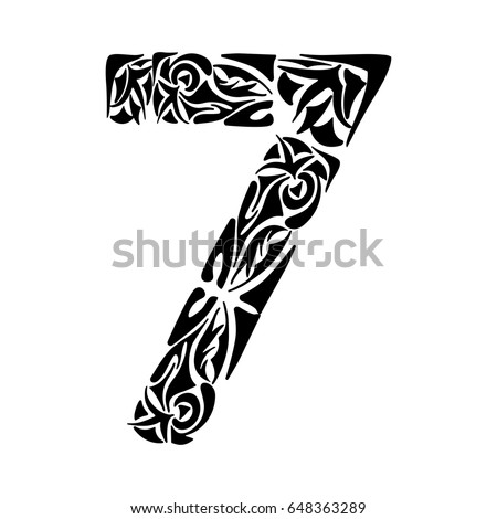 Polynesian tattoo numeral. Boho Figure seven. Vector illustration for coloring page, invitations or decoration. Tribal design element.