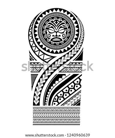 polynesian tattoo pattern tribal, ethnic samoan maori tiki, sleeve shoulder men arm ornate ornaments sketch vector