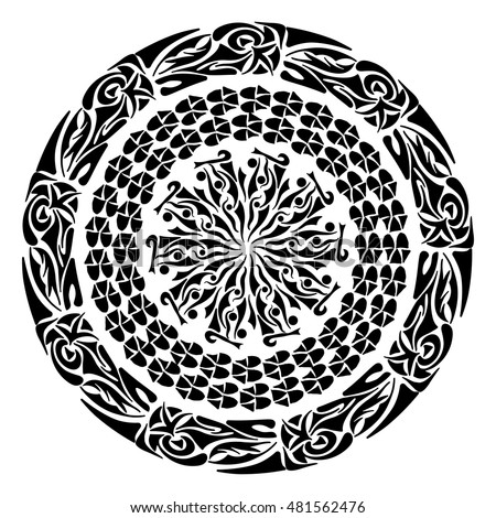 74ca02d6c898a Vector Images, Illustrations and Cliparts: Polynesian tattoo style.  Circular ornament design element. Vector Mandala | Hqvectors.com