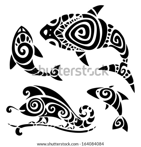 Polynesian tattoo Tribal pattern set Vector illustration
