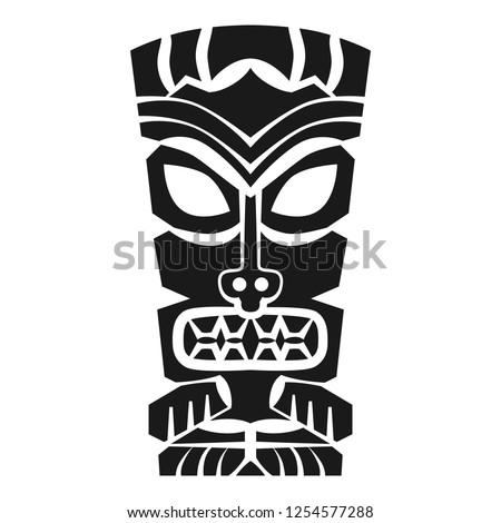 Polynesian tiki mask vector icon. Simple illustration of polynesian tiki mask vector icon for web design isolated on white background
