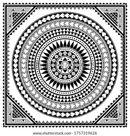 Polynesian tribal mandala vector greeting card pattern, Hawaiian retro design inspired by art traditional geometric art. Abstract andala background in black and white, zen, yoga or tiki bar decoration