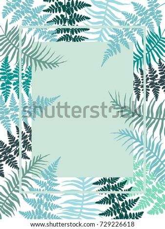 Polypodiophyta plant fern leaves decorative background and rectangular vertical frame. Detailed silver fern image, tropical forest herbs, fern frond blule grass jungle leaves rectangle border. #729226618