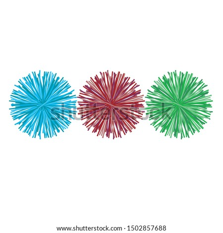 Pom poms, baubles, Technical Drawings, Vector Templates for Fashion Design