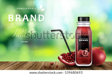 Pomegranate juice ads, delicious juice on wooden table isolated on bokeh background, 3d illustration