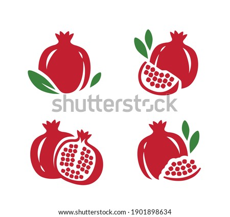 Pomegranate, seeds garnet icons set. Fruit symbol vector Сток-фото ©