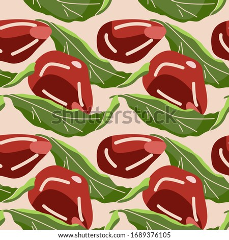 Pomegranate seeds on beige backdrop. Healthy food seamless pattern for wallpaper, wrap paper, sleeper, bath tile, apparel or bed linen. Phone case or cloth print. Drawn style stock vector illustration