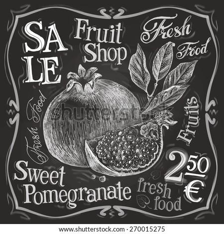 pomegranate vector logo design template. fresh fruit, food or menu board icon.