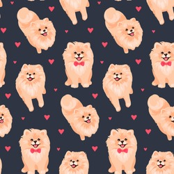 Pomeranian Spitz puppy seamless pattern. Small German spitz all over print background. Little smile dog vector stock illustration. Domestic animal in cartoon style repeat design.