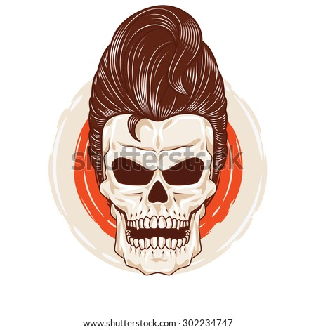 Pompadour Skull Head. a skull head with a cool hairstyle. ストックフォト ©