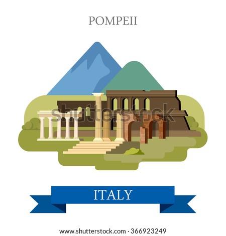 pompeii ruins in italy. flat...