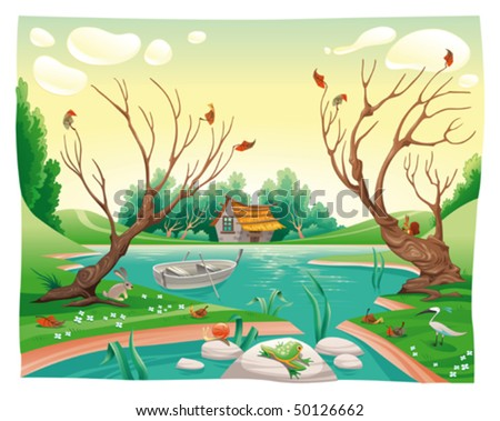Pond and animals. Funny cartoon and vector illustration - stock vector