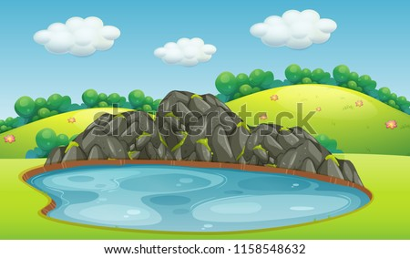 Pond in a park with rock background