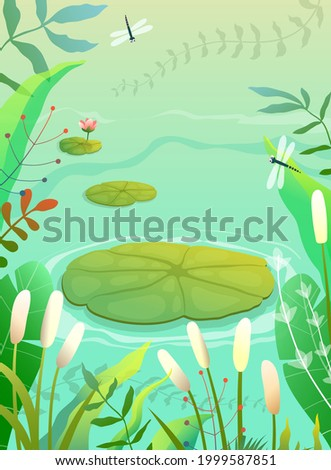 Pond, swamp or lake scenery empty background with waterlily and lily plants grass and reeds. Colorful swamp illustration in green tones, empty vertical nature vector background in watercolor style.