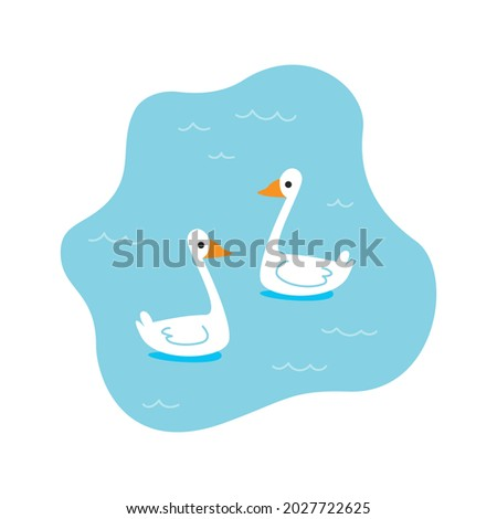 pond with two swans in cartoon