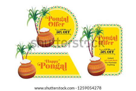 Pongal Festival Offer  Banner, Sticker, Label Design Collection Set with 50% Discount Tag