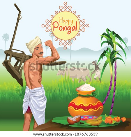 Pongal Greetings with farmer in paddy field and sugarcane Сток-фото ©