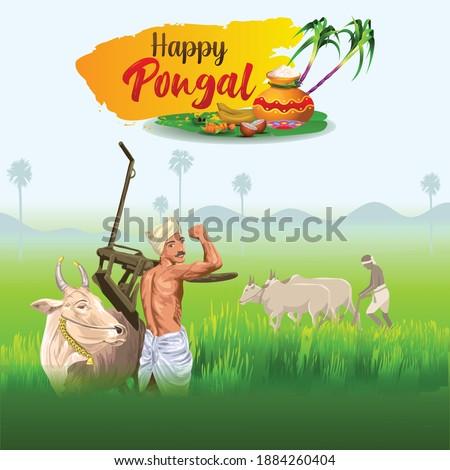 Pongal Greetings with ploughing farmer Сток-фото ©