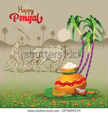 Pongal Greetings with ploughing farmer, pot, sugarcane and traditional things Сток-фото ©
