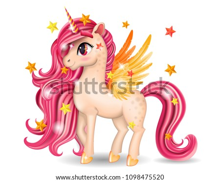 Pony Unicorn Character with Pink Jewel, Big Eyes, Golden Wings and Hooves on White Background, Isolated, Long Hair (Mane, Tail), Striped Horn, Cartoon Personage Hand Drawn Vector 3D Illustration