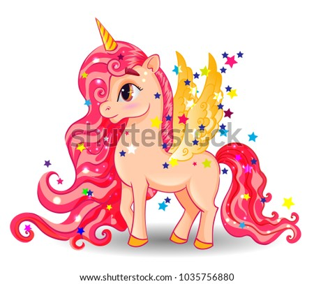 Pony Unicorn with Golden Wings and Big Eyes on White Background, Long Hair (Mane, Tail), Cartoon Character Hand Drawn Vector Illustration #1035756880