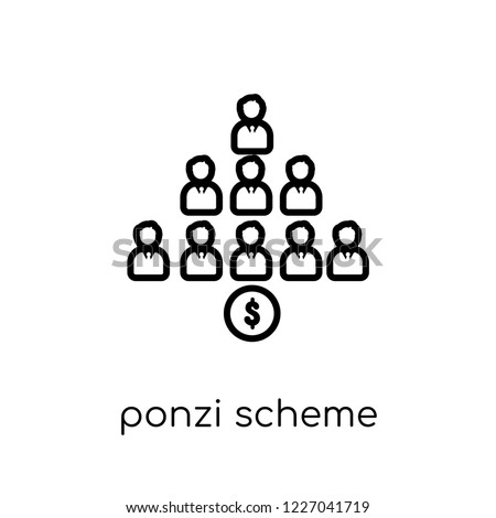 Ponzi scheme icon. Trendy modern flat linear vector Ponzi scheme icon on white background from thin line business collection, editable outline stroke vector illustration