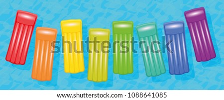 Pool air mattresses. Colorful set floating on blue water, symbol for group travel or group friendly vacation destinations. Vector illustration on white background.