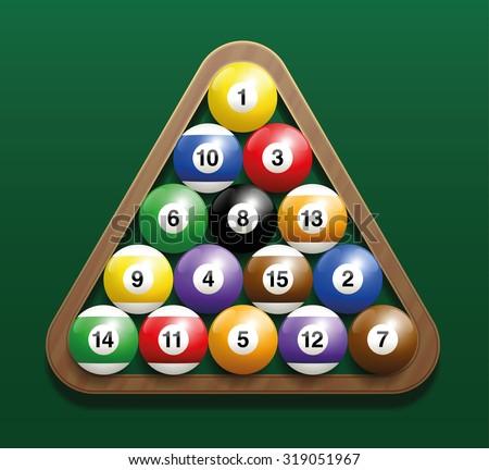 pool billiard balls in a wooden