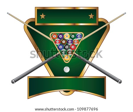 Pool or Billiards Emblem Design is an illustration of a pool or billiards design that includes a rack of pool or billiard balls and crossed sticks or cues.