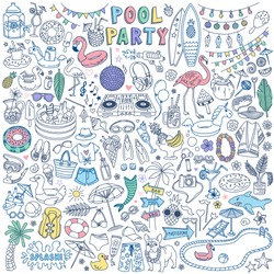 Pool Party doodle set. Summer outdoor activities and festive decoration. Hand drawn vector illustration isolated on white background.