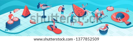 Pool party isometric 3d illustration with cartoon people in swimsuit, drinking cocktail, relax, recreation spa concept, horizontal banner, watermelon, orange, summer event background, leisure time