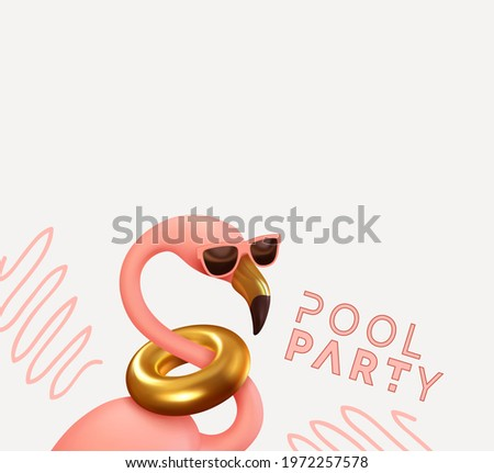 Pool party Pink flamingo In sun goggles realistic 3d element. Summer stylish design. Party banner, web poster. Abstract art. vector illustration isolated on pink background.