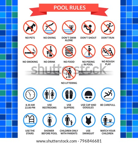 pool rules poster. swimming...