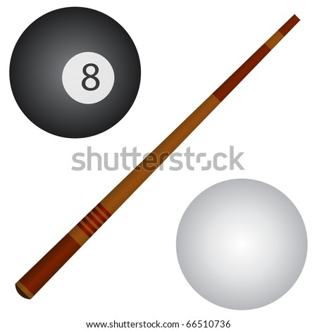 Pool / snooker cue, white and black balls.