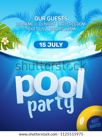 pool summer party invitation