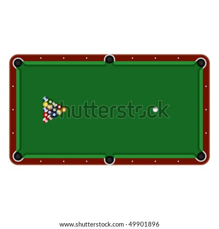 Pool table. Detailed vector. - stock vector