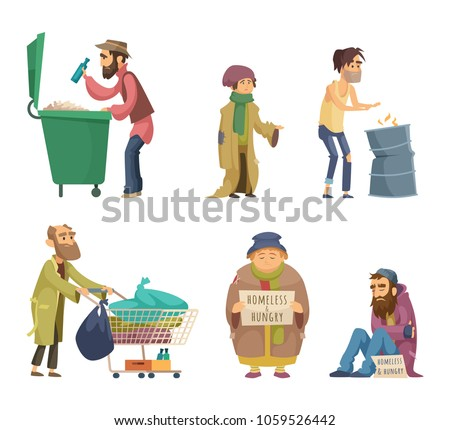 Poor and homeless adults people. Vector characters set. Homeless dirty, poor beggar, hungry adult with problem illustration