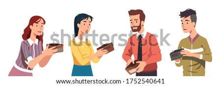 Poor broke men & women holding empty wallets set. Sad casual & business people have no money. Financial problems, crisis, unemployment, poverty, bankruptcy flat vector character isolated illustration