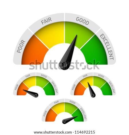 Poor, fair, good, excellent - rating meter. Vector.