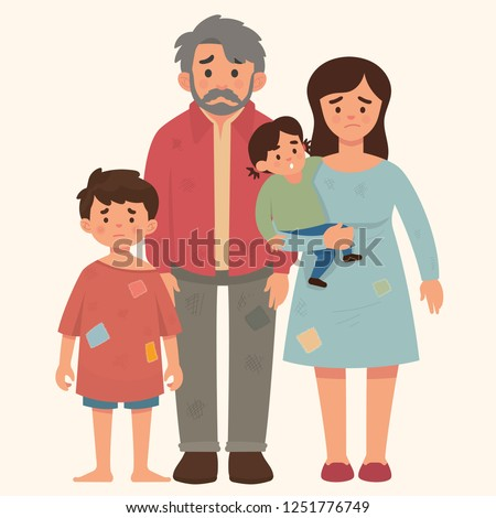 poor family concept, father, mother and to kids in bad condition, hungry and dirty, homeless family concept, refugee family concept