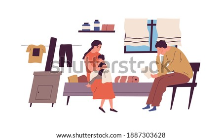 Poor family have no money to pay bills vector flat illustration. Miserable jobless father holding receipt worrying about payment isolated. Unemployment and financial problem, crisis or bankruptcy Foto stock ©