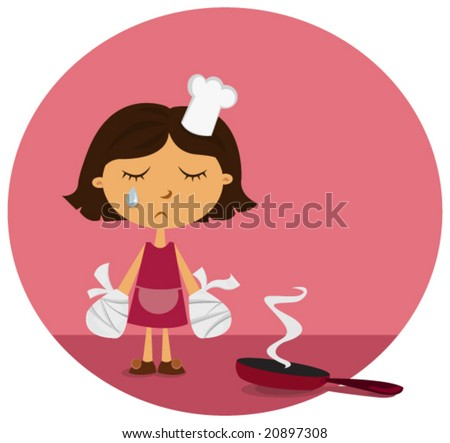 poor female chef with burnt hands